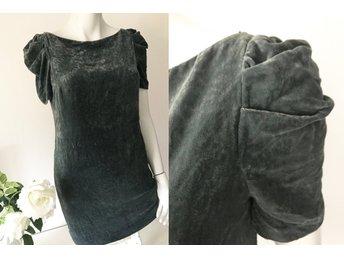Zara fri frakt grå sidenklänning klänning sammet siden viskos fest nyår XS 66ea01ecf4709