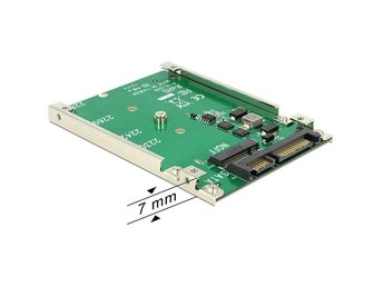 "DeLOCK M.2 SSD adapter, M.2 - SATA 22-pin, 1x2,5"" plats, 7mm höjd"