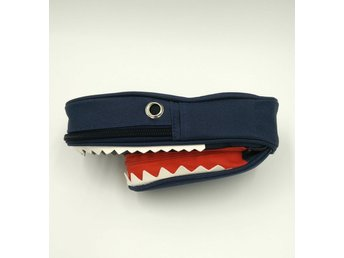 Barn Pennskrin- Mörkblå haj/  dark blue shark pencil box Julkalpp