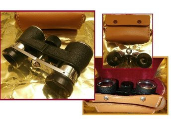 VINTAGE Modernist Leather/Chromed Opera Glasses/Mini Binoculars-PARTICULAR 3x26