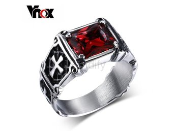 Ring Women Men Rock Punk Jewelry Birthday Gift size 8 Red