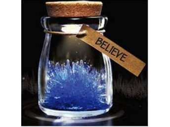 "NY!Magical Gift DIY Lucky Growing Grow Crystal ""Believe"" Blå"