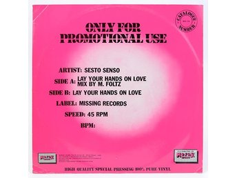 "Sesto Senso - Lay Your Hands On Love MSS 100 12"" 1985"