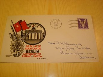 WWII The Fall of the Reichs Capital Berlin Captured by the Russians 1945 USA FDC