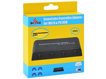 Gamecube Controller Adapter (4-port) for Wii U / PC / Switch USB (Mayflash) (Ny)