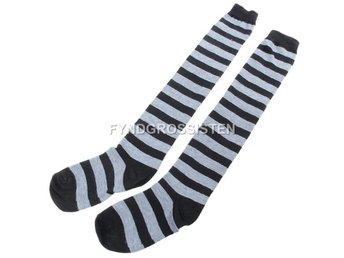 Knästrumpor High Long Striped Stocking Gray Fri Frakt Ny