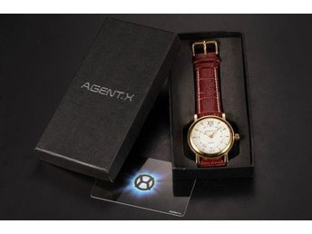 NY AgentX Gold White Dial Date Display Leather Band Quartz Men's Watch