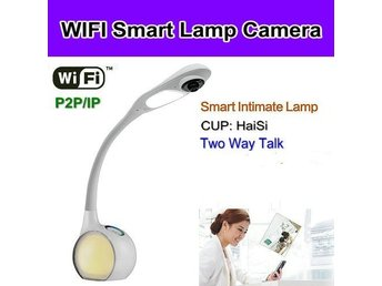 WIFI bordslampkamera, P2P / IP, 1080P, H.264, App Support IOS
