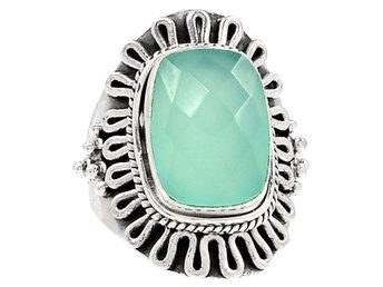 17,25 Äkta silver KALCEDON 925 silverring ring sten ljusblå aqua havsgrön - Stockholm - 17,25 Äkta silver KALCEDON 925 silverring ring sten ljusblå aqua havsgrön - Stockholm