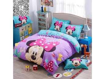 Minnie Mouse Duvet Cover with Pillow Case Single/Double Size Cartoon Bedding Set