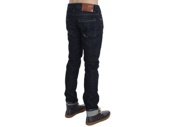 ACHT - Dark Blue Wash Cotton Slim Skinny Fit Jeans