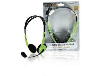 basicXL Headset On-Ear 2x 3.5 mm Inbyggd Mikrofon 2.0 m Grön
