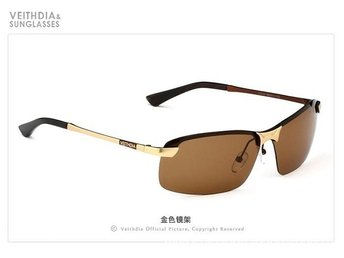 (SKU00141) VEITHDIA Polarized Men's Sunglasses rectangle Outdoor Sports (Gold)