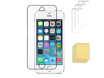 3-pack Apple iPhone 5/5S/SE skärmskydd transparent +putsduk