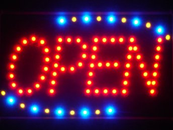 EXKLUSIV OPEN LED NEON SKYLT - DISPLAY/REKLAM/DEKORATION/TAVLA/BELYSNING