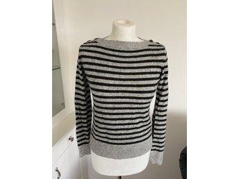 HM grå svart randig tröja tjocktröja ull angora tjej dam stl S
