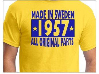 Gul T-shirt : Made in Sweden 1957 - All original parts Storlek MEDIUM