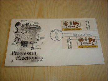 Progress in Electronics 1973 USA förstadagsbrev FDC 2 frimärken
