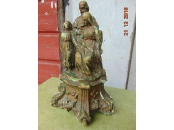 FIGURE HOLY FAMILY WITH PLASTER 1880-1920 FRANCE