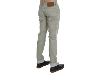 ACHT - Beige Wash Cotton Slim Skinny Fit Jeans