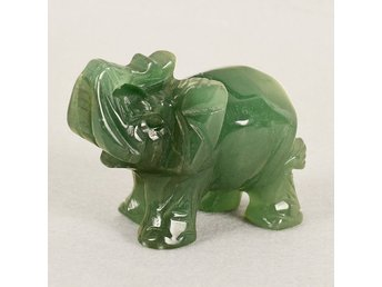 1x Snidad Aventurine Jade Stone Lucky Fortune Elephant Feng Shui Staty