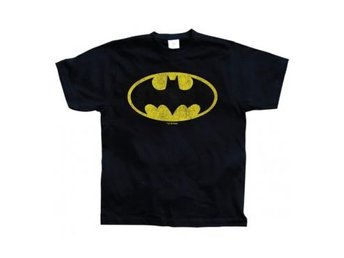Batman T-shirt Distressed Logo Svart XXL