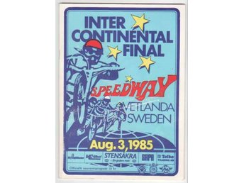 Speedwayprogram. Intercontinentalfinal Vetlanda 1985.