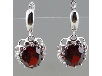 Glittering Red Garnet Sterling Silver Jewelry Drop Dangle Earrings For Women