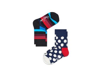 Happy Socks 2-Pack barnstrumpor Big Dots & Stripes, Black & Navy (7-9 år)