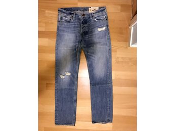 Hollister Palm Canyon Low Rise Skinny Jeans - 33x32 - ljusblåa (trashade)