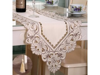 Rectangle Flower Table Runner Tablecloth With Tassel Wedd...