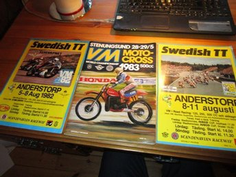 3 motorcykel tidningar roadracing 1982,85  motocross 1983  programblad