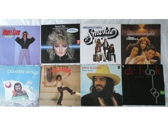 Paket med 8 lp-70 tals pop-Demis R,Cat S,Sayer, Bonnie T ,Dr Hook,Smokie