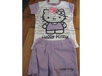 T-Shirt Tröja Barn - Hello Kitty Pyjamas T-shirt + Shorts Lila vit 8-10 år THN