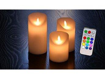 LED-ljus olika färger. 3-pack med ljus i olika storlekar. Fjärrkontroll ingår - Hässleholm - LED-ljus olika färger. 3-pack med ljus i olika storlekar. Fjärrkontroll ingår - Hässleholm