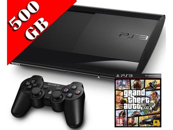 - Playstation 3 #GTA V PAKET# 500GB Superslim Inkl. 1 HK samt 20% på Spel! -