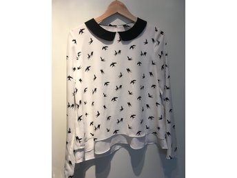 H&M Divided blus skjorta storlek 36 krage svalor Peter pan collar