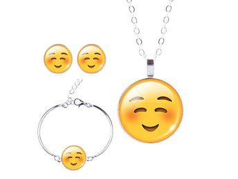 Fashion Jewelry Set Silver Plated with Cute Emoji Pattern - Stenungsund - Fashion Jewelry Set Silver Plated with Cute Emoji Pattern - Stenungsund
