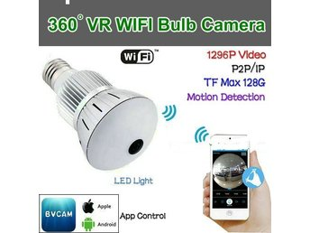 WIFI VR-lampkamera, 360Camera, 5,0 MP CMOS, 1296P / Video, P2P / IP / WIFI, Mot