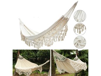 240x150CM Large Double Cotton Hammock Fringe Swing Beach ...