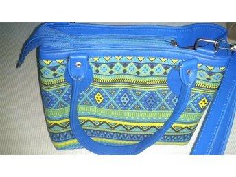 Minangkabau handväska, väska handbag. blå, gul - Nacka - Minangkabau handväska, väska handbag. blå, gul - Nacka