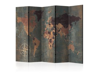 Rumsavdelare - Room divider – Map in browns and greys 225x17