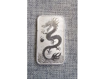 Dragon bar 1 oz silver tacka Perth Mint silvertacka Samlarmynt
