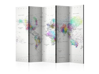Rumsavdelare - Room divider – White-colorful world map 225x1