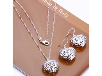 NYTT!! Romantic Jewelry 925 silver Cute Peach Heart Necklace Earrings Set Gift
