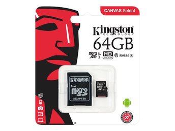 Kingston 64GB microSDXC Canvas Select 80R CL10 UHS-I Card+SD Adapter
