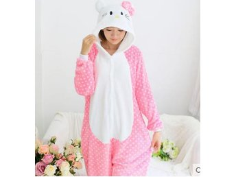 hello kitty Hot Unisex Adult Pajamas Kigurumi Cosplay Costume Animal Storlek S