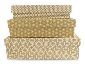 Box 3-set papp mönstrade Guld papplådor - Löddeköpinge - Box 3-set papp mönstrade Guld papplådor - Löddeköpinge