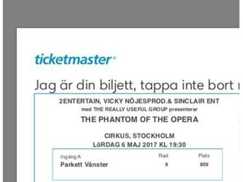 Phantom of the Opera biljett, parkettplats+middag, 6 maj, 19.30