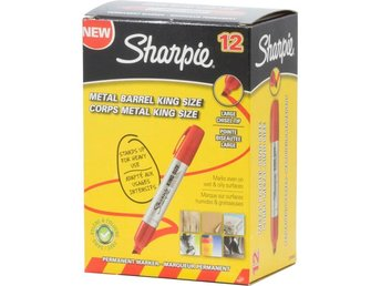 Sharpie King Size permanent marker, Röd, 12-pack